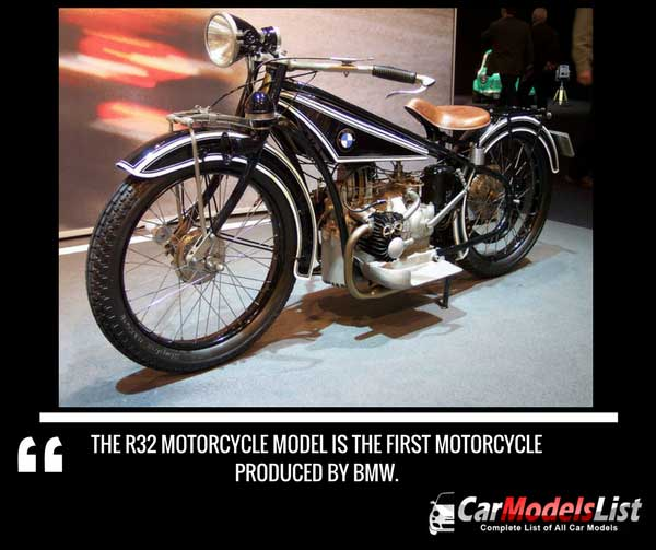 The R32 Motorcycle model is the first motorcycle created by BMW