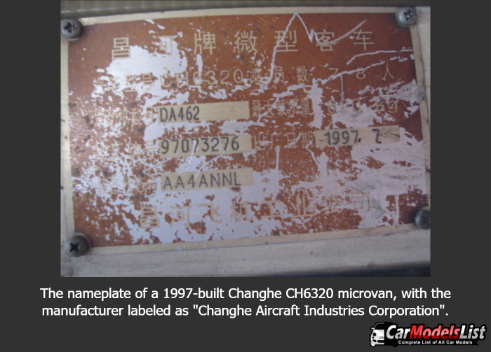 The nameplate of a 1997 built Changhe CH6320 microvan with the manufacturer labeled as Changhe Aircraft Industries Corporation