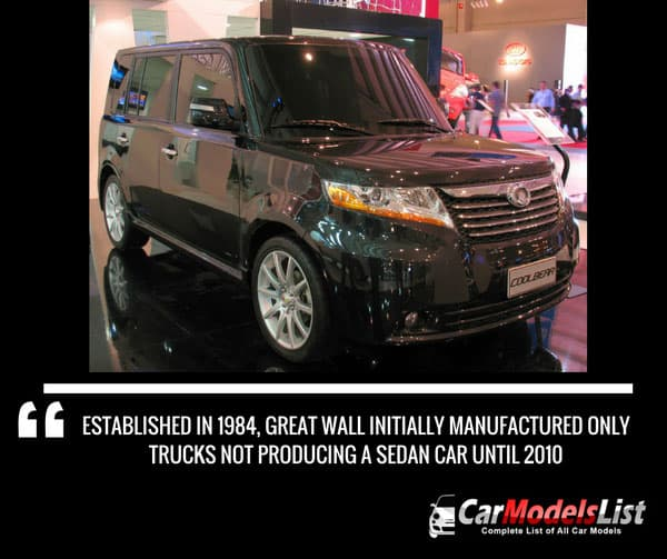 Established in 1984 Great Wall initially manufactured only trucks not producing a sedan car until 2010