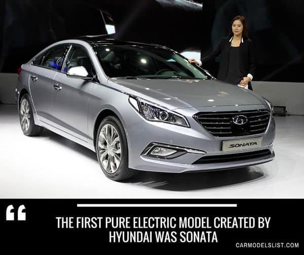 The first pure electric model created by hyundai was sonata