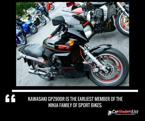 The Kawasaki GPZ900R  is the earliest member of the Ninja family of sport bikes