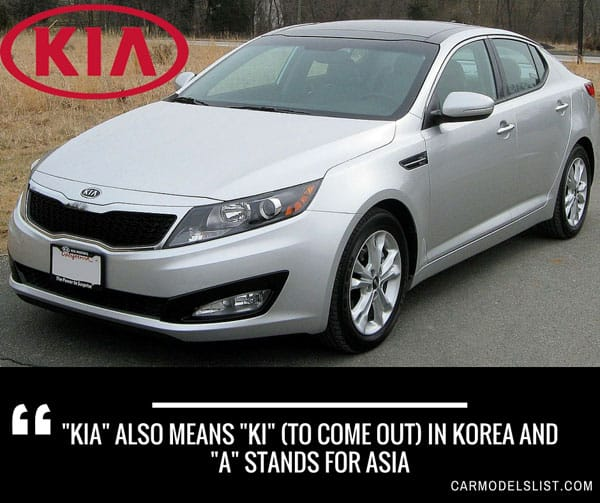 KIA also means KI  to come out in Korea and A stands for Asia