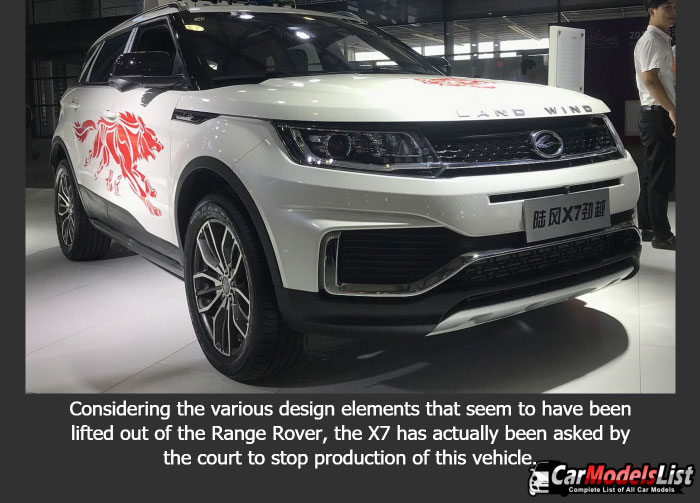 Considering the various design elements that seem to have been lifted out of the Range Rover, the X7 has actually been asked by the court to stop production of this vehicle.