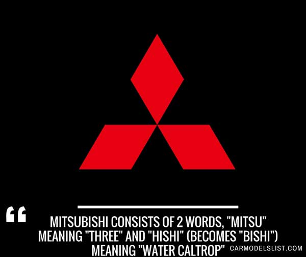 Mitsubishi consists of 2 words, mitsu meaning three and hishi becomes bishi meaning water caltrop