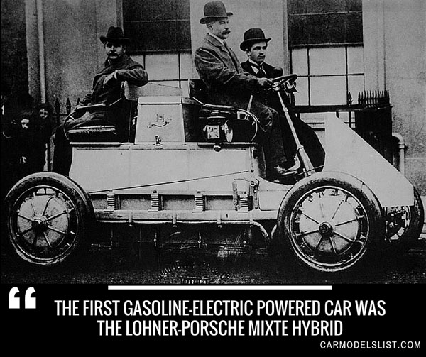 The first gasoline electric powered car was the Lohner Porsche Mixte Hybrid