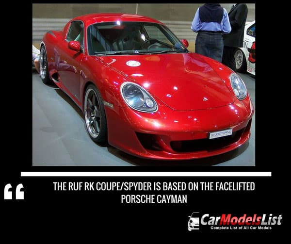The Ruf RK Coupe Spyder is based on the facelifted Porsche Cayman