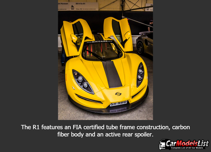 The R1 features an FIA certified tube frame construction carbon fiber body and an active rear spoiler