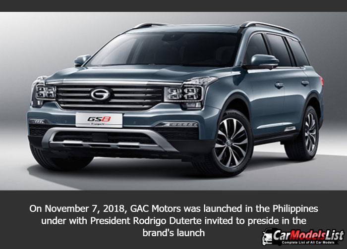 On November 7 2018 GAC Motors was launched in the Philippines under with President Rodrigo Duterte invited to preside in the b