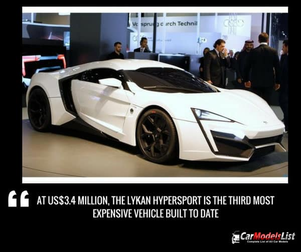 The Lykan HyperSport is the third most expensive vehicle ever built