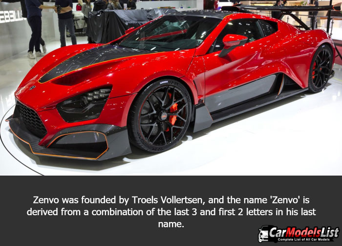 Zenvo was founded by Troels Vollertsen, and the name 'Zenvo' is derived from a combination of the last 3 and first 2 letters in his last name.