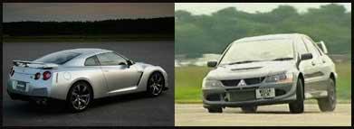 Nissan GTR and Mitsubishi Lancer Evolution