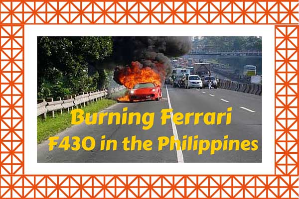 Burning Ferrari F430 in the Philippines