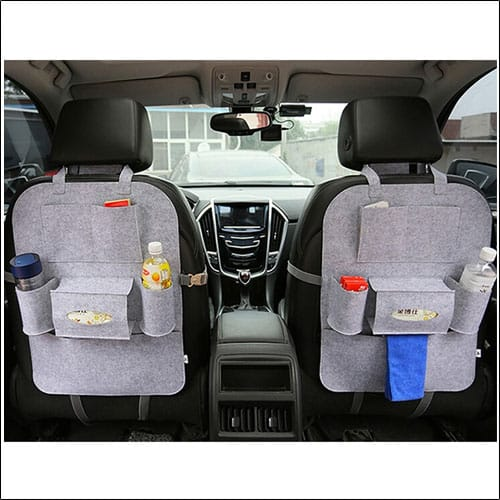 Car Auto Seat Back Multi-Pocket Storage Bag Organizer Holder Hanger Accessory (Light Grey)