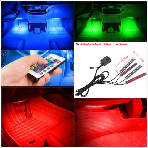 Colorful 9-LED Car Interior Dash Floor Light Lamp Strip Remote Voice Music Control
