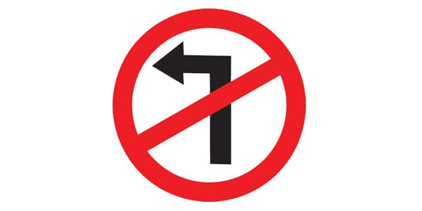 Left Turn Ahead Prohibited Sign