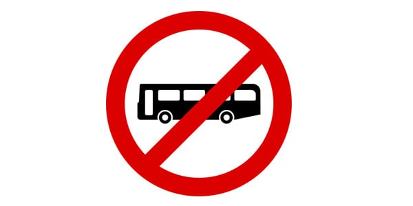 No Bus Allowed sign