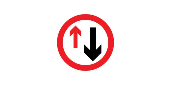 Yield to Oncoming Traffic sign
