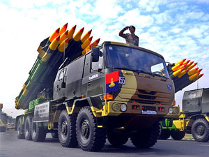 Indian Army Tatra truck mounting BM 30 Smerch