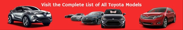 Complete list of all Toyota Car Models