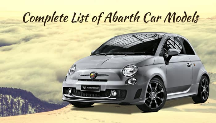 complete list of all abarth car models